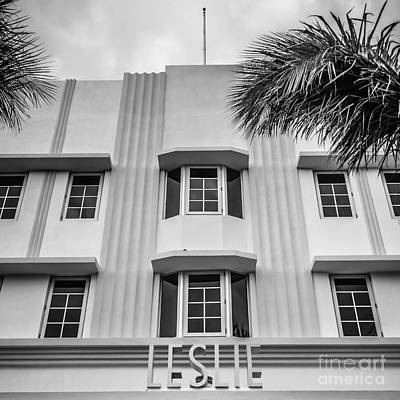 Leslie Hotel South Beach Miami Art Deco Detail - Square - Black And White Art Print by Ian Monk