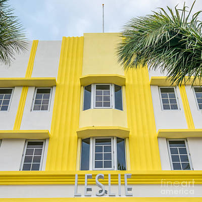 Leslie Hotel South Beach Miami Art Deco Detail - Square Art Print by Ian Monk