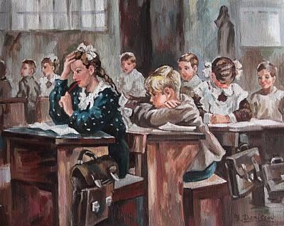 Portfolio Painting - Lesson At School by Yury Denissov