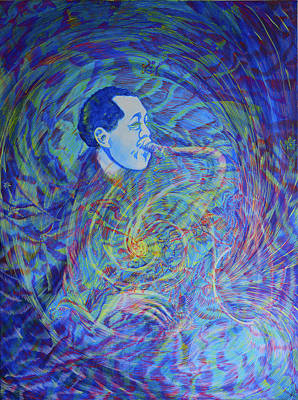 Painting - Lester Young Is Breathing by Lola Lonli