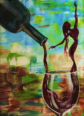 Glass Of Wine Painting - Let It Breathe by Lisa Owen-Lynch