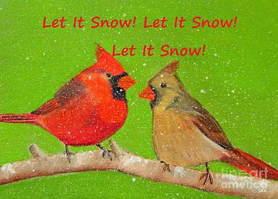 Painting - Let It Snow - Cardinals Greeting Card by Shelia Kempf