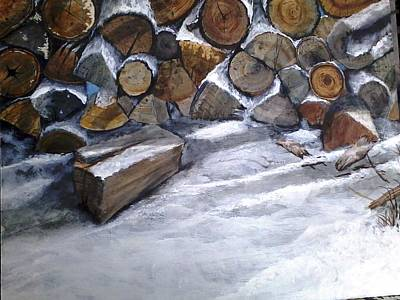 Woodpile Painting - Let It Snow by Janice Kolano