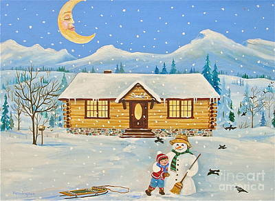 Banff Artist Painting - Let It Snow by Virginia Ann Hemingson