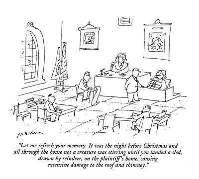 Santa Claus Drawing - Let Me Refresh Your Memory.  It Was The Night by Michael Maslin