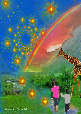 Digital Art - Children Walk Into Fantasy  by Femina Photo Art By Maggie