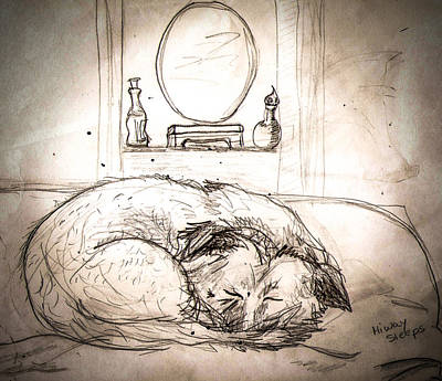 Drawing - Let Sleeping Dogs Lie by Christy Usilton