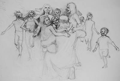 Drawing - Let The Children Come by Jani Freimann