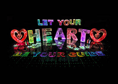 Bling Mixed Media - Let Your Heart Be Your Guide by Jill Bonner