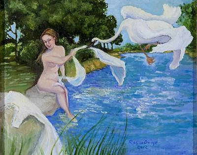 Leta And The Swan Original by Robin Dodge