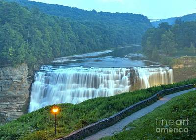 Photograph - Letchworth Middle Falls Lights by Adam Jewell