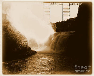 Photograph - Letchworth State Park Upper Falls In Albumen by Rose Santuci-Sofranko