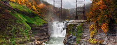 Railroad Park Photograph - Letchworth Upper Falls 2 by Peter Chilelli