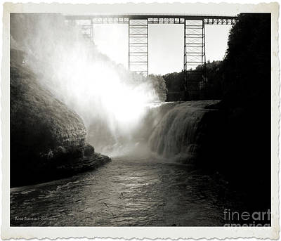 Photograph - Letchworth Upper Falls In Platinum by Rose Santuci-Sofranko