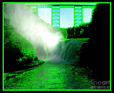 Photograph - Letchworth Upper Falls With Green Effect by Rose Santuci-Sofranko