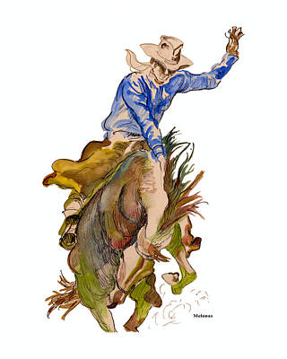 Rodeo Art Drawing - Let'er Buck by Peter Melonas