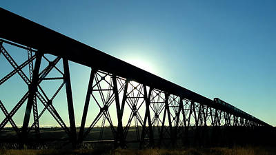 Photograph - Lethbridge Viaduct Silhouette by Trever Miller