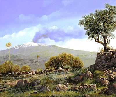 Landscape Oil Painting - l'Etna  by Guido Borelli