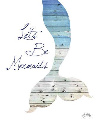 Mermaids Wall Art - Painting - Let's Be Mermaids by Elizabeth Medley