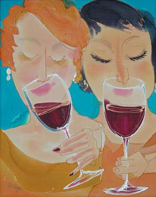 Winetasting Painting - Let's Get Together by Jill Targer