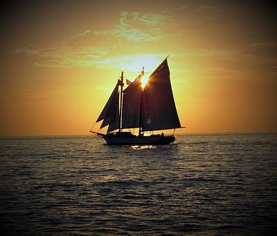 Sailing At Sunset Art Print by Gary Smith