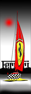 Lets Go Sailing With Ferrari Art Print by Peter Stevenson