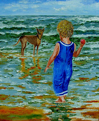 Dog Play Beach Painting - Lets Play A Ball by Inna Montano