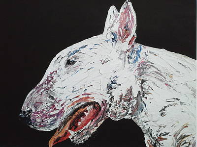 English Bull Terrier Painting - Lets Play by Janette Ireland