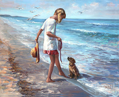 Dog Beach Painting - Let's Play by Laurie Hein