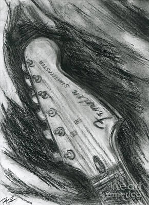 Stratocaster Drawing - Let's Play The Blues by Roz Abellera Art