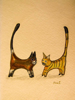 Two Tailed Drawing - Let's Play by Zina Stromberg