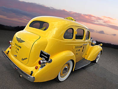 Prairie Sunset Photograph - Let's Ride - Studebaker Yellow Cab by Gill Billington
