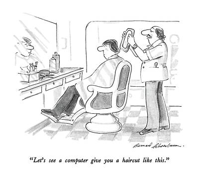 Computer Drawing - Let's See A Computer Give You A Haircut Like This by Bernard Schoenbaum