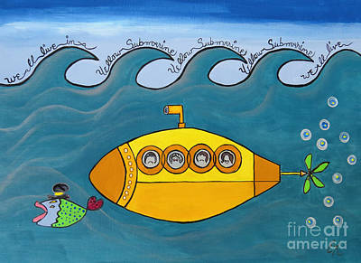 Music Royalty-Free and Rights-Managed Images - Lets Sing The Chorus Now - the Beatles Yellow Submarine by Ella Kaye Dickey