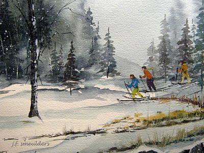 John Smeulders Painting - Let's Ski by John Smeulders
