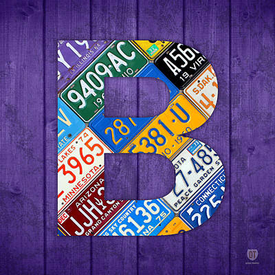 Mixed Media - Letter B Alphabet Vintage License Plate Art by Design Turnpike