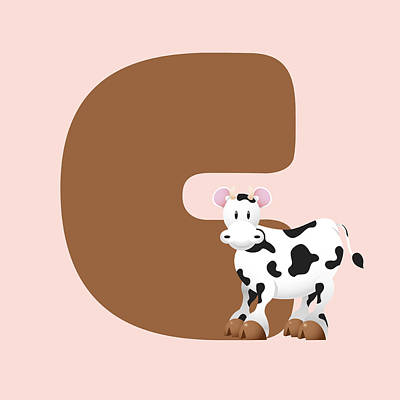 Animal Digital Art - Letter C Of Cow by Gina Dsgn