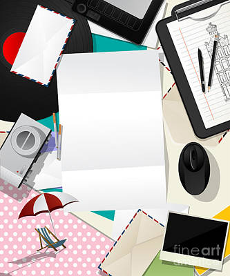 Letter Collage Abstract Art Print by Richard Laschon