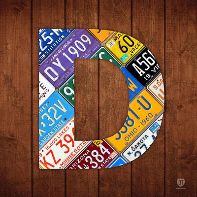 Mixed Media - Letter D Alphabet Vintage License Plate Art by Design Turnpike