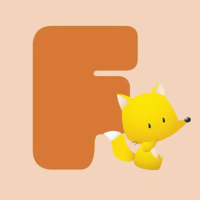 Fox Digital Art - Letter F by Gina Dsgn