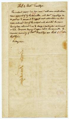 Letter From Jefferson To Franklin Art Print by American Philosophical Society