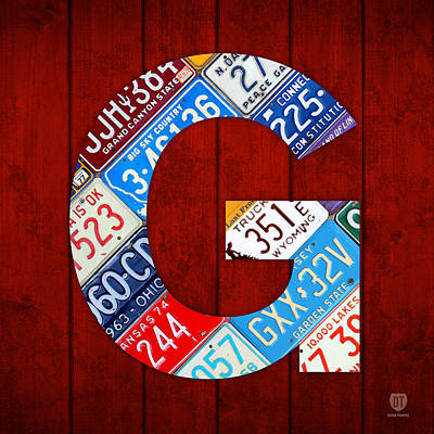 Mixed Media - Letter G Alphabet Vintage License Plate Art by Design Turnpike