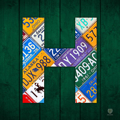 Mixed Media - Letter H Alphabet Vintage License Plate Art by Design Turnpike