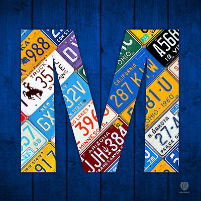 Mixed Media - Letter M Alphabet Vintage License Plate Art by Design Turnpike