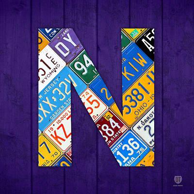 Mixed Media - Letter N Alphabet Vintage License Plate Art by Design Turnpike