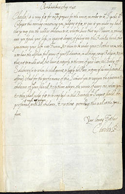Letter Of Charles I Art Print by British Library