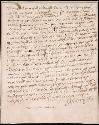 Autograph Photograph - Letter Of Henry Viii by British Library