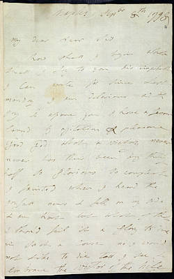 Letter Of Lady Hamilton Art Print by British Library