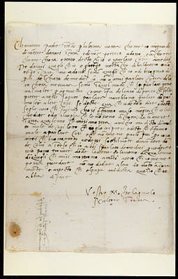 Autographed Photograph - Letter Of Michelangelo by British Library