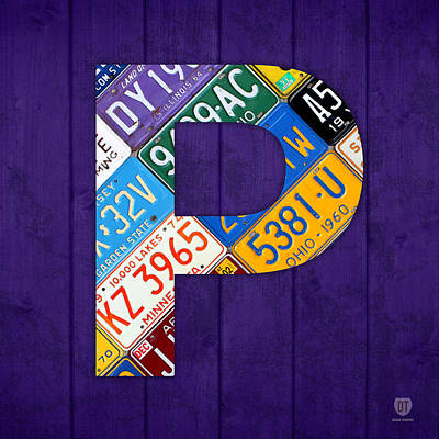 Mixed Media - Letter P Alphabet Vintage License Plate Art by Design Turnpike